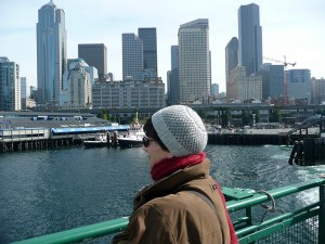 Bundled up on the ferry from Seattle to Bainbridge Island