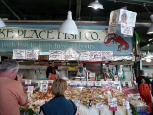 Fish stand at Pike Place Market