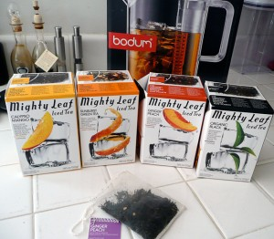 Bodum pitcher and Mighty Leaf tea selection
